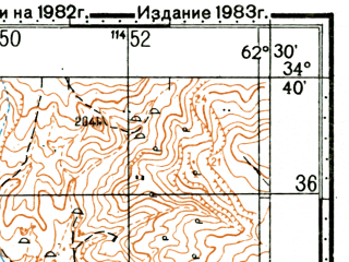 Reduced fragment of topographic map ru--gs--100k--i41-053--(1983)--N034-40_E062-00--N034-20_E062-30