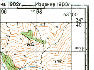 Reduced fragment of topographic map ru--gs--100k--i41-054--(1983)--N034-40_E062-30--N034-20_E063-00