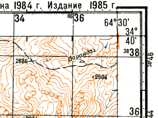 Reduced fragment of topographic map ru--gs--100k--i41-057--(1985)--N034-40_E064-00--N034-20_E064-30