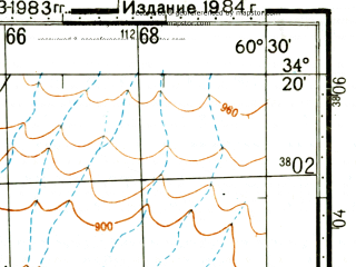 Reduced fragment of topographic map ru--gs--100k--i41-061--(1984)--N034-20_E060-00--N034-00_E060-30; towns and cities Majnabad
