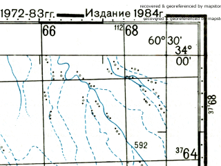 Reduced fragment of topographic map ru--gs--100k--i41-073--(1984)--N034-00_E060-00--N033-40_E060-30