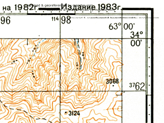 Reduced fragment of topographic map ru--gs--100k--i41-078--(1983)--N034-00_E062-30--N033-40_E063-00