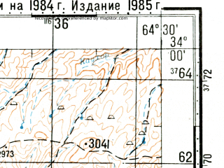 Reduced fragment of topographic map ru--gs--100k--i41-081--(1985)--N034-00_E064-00--N033-40_E064-30