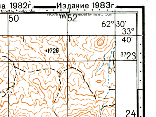Reduced fragment of topographic map ru--gs--100k--i41-089--(1983)--N033-40_E062-00--N033-20_E062-30