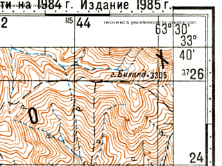 Reduced fragment of topographic map ru--gs--100k--i41-091--(1985)--N033-40_E063-00--N033-20_E063-30