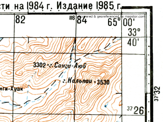 Reduced fragment of topographic map ru--gs--100k--i41-094--(1985)--N033-40_E064-30--N033-20_E065-00; towns and cities Sangan