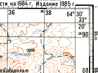 Reduced fragment of topographic map ru--gs--100k--i41-105--(1985)--N033-20_E064-00--N033-00_E064-30; towns and cities Qalamcasma