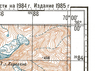 Reduced fragment of topographic map ru--gs--100k--i42-008--N036-00_E069-30--N035-40_E070-00
