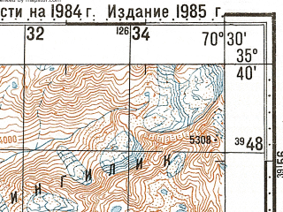 Reduced fragment of topographic map ru--gs--100k--i42-021--N035-40_E070-00--N035-20_E070-30; towns and cities Atiti