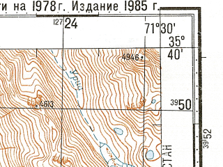 Reduced fragment of topographic map ru--gs--100k--i42-023--N035-40_E071-00--N035-20_E071-30