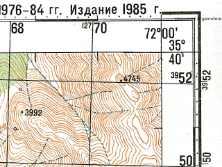 Reduced fragment of topographic map ru--gs--100k--i42-024--N035-40_E071-30--N035-20_E072-00; towns and cities Mirkhani