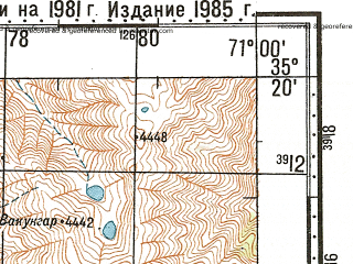 Reduced fragment of topographic map ru--gs--100k--i42-034--N035-20_E070-30--N035-00_E071-00; towns and cities Wama