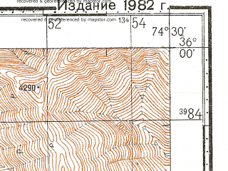 Reduced fragment of topographic map ru--gs--100k--i43-005--N036-00_E074-00--N035-40_E074-30; towns and cities Pahot