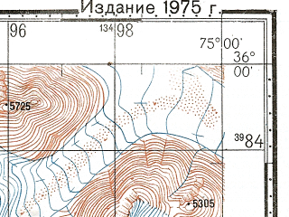 Reduced fragment of topographic map ru--gs--100k--i43-006--N036-00_E074-30--N035-40_E075-00; towns and cities Barmas, Dorchan, Hope