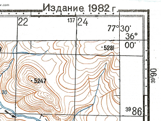Reduced fragment of topographic map ru--gs--100k--i43-011--N036-00_E077-00--N035-40_E077-30