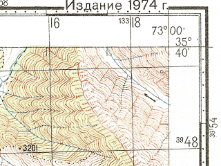 Reduced fragment of topographic map ru--gs--100k--i43-014--N035-40_E072-30--N035-20_E073-00; towns and cities Biaso