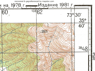 Reduced fragment of topographic map ru--gs--100k--i43-015--N035-40_E073-00--N035-20_E073-30