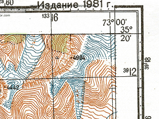 Reduced fragment of topographic map ru--gs--100k--i43-026--N035-20_E072-30--N035-00_E073-00