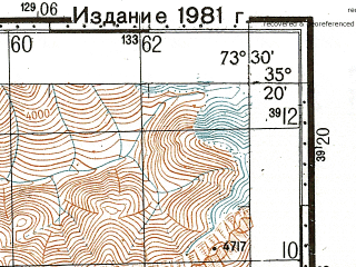 Reduced fragment of topographic map ru--gs--100k--i43-027--N035-20_E073-00--N035-00_E073-30