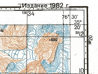 Reduced fragment of topographic map ru--gs--100k--i43-033--N035-20_E076-00--N035-00_E076-30; towns and cities Gwali, Kghaplu, Krabathung