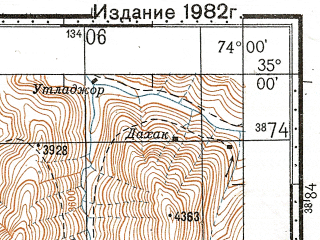 Reduced fragment of topographic map ru--gs--100k--i43-040--N035-00_E073-30--N034-40_E074-00; towns and cities Lari