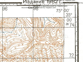 Reduced fragment of topographic map ru--gs--100k--i43-042--N035-00_E074-30--N034-40_E075-00; towns and cities Chechri Kadal, Kalapani, Seri