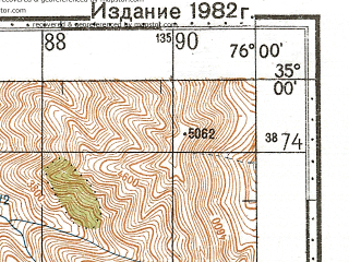 Reduced fragment of topographic map ru--gs--100k--i43-044--N035-00_E075-30--N034-40_E076-00; towns and cities Khusrunaral, Saigar