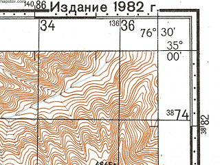 Reduced fragment of topographic map ru--gs--100k--i43-045--N035-00_E076-00--N034-40_E076-30; towns and cities Marol, Mul, Papaldo