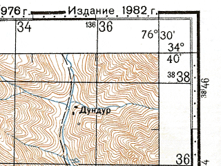 Reduced fragment of topographic map ru--gs--100k--i43-057--N034-40_E076-00--N034-20_E076-30; towns and cities Goma, Isganiap, Lalu