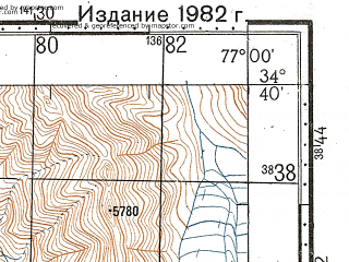 Reduced fragment of topographic map ru--gs--100k--i43-058--N034-40_E076-30--N034-20_E077-00; towns and cities Goma Hanu, Skirbuchan