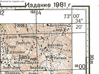 Reduced fragment of topographic map ru--gs--100k--i43-062--N034-20_E072-30--N034-00_E073-00; towns and cities Topi