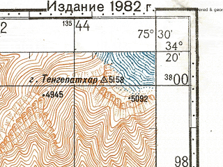 Reduced fragment of topographic map ru--gs--100k--i43-067--N034-20_E075-00--N034-00_E075-30; towns and cities Brariyen, Harganyiwan, Kulan