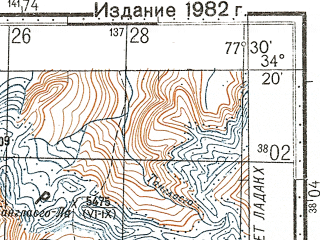 Reduced fragment of topographic map ru--gs--100k--i43-071--N034-20_E077-00--N034-00_E077-30; towns and cities Machakka, Saspul Gompa