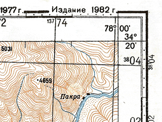 Reduced fragment of topographic map ru--gs--100k--i43-072--N034-20_E077-30--N034-00_E078-00; towns and cities Agham, Ranbinpura