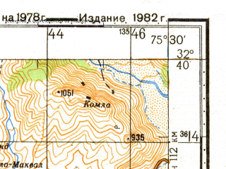 Reduced fragment of topographic map ru--gs--100k--i43-127--N032-40_E075-00--N032-20_E075-30; towns and cities Harar
