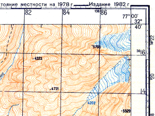 Reduced fragment of topographic map ru--gs--100k--i43-130--N032-40_E076-30--N032-20_E077-00