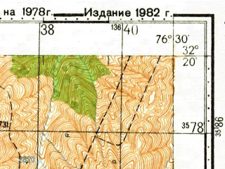 Reduced fragment of topographic map ru--gs--100k--i43-141--N032-20_E076-00--N032-00_E076-30; towns and cities Katnor, Hatli, Jawali