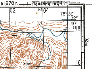 Reduced fragment of topographic map ru--gs--100k--i44-121--N032-40_E078-00--N032-20_E078-30; towns and cities Dutung