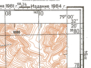 Reduced fragment of topographic map ru--gs--100k--i44-134--N032-20_E078-30--N032-00_E079-00
