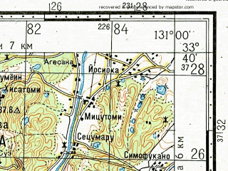 Reduced fragment of topographic map ru--gs--100k--i52-094--N033-40_E130-30--N033-20_E131-00; towns and cities Shingai, Amagi