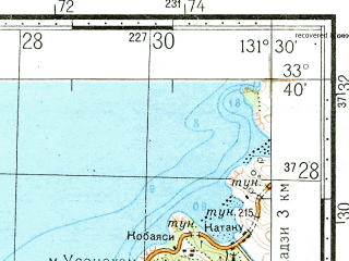 Reduced fragment of topographic map ru--gs--100k--i52-095--N033-40_E131-00--N033-20_E131-30; towns and cities Tayooka