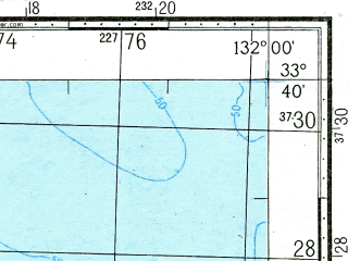 Reduced fragment of topographic map ru--gs--100k--i52-096--N033-40_E131-30--N033-20_E132-00