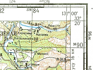 Reduced fragment of topographic map ru--gs--100k--i52-106--N033-20_E130-30--N033-00_E131-00; towns and cities Yamaga