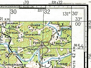 Reduced fragment of topographic map ru--gs--100k--i52-119--N033-00_E131-00--N032-40_E131-30; towns and cities Taketa
