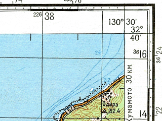 Reduced fragment of topographic map ru--gs--100k--i52-129--N032-40_E130-00--N032-20_E130-30; towns and cities Hondo, Kami-jima, Shimo-jima