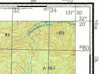 Reduced fragment of topographic map ru--gs--100k--i52-143--N032-20_E131-00--N032-00_E131-30