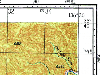 Reduced fragment of topographic map ru--gs--100k--i53-021--N035-40_E136-00--N035-20_E136-30