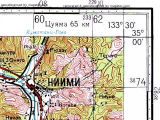 Reduced fragment of topographic map ru--gs--100k--i53-039--N035-00_E133-00--N034-40_E133-30; towns and cities Niimi