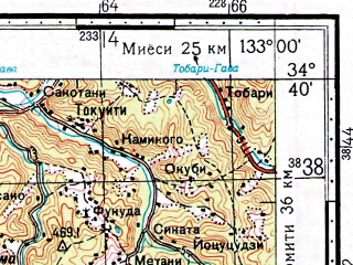 Reduced fragment of topographic map ru--gs--100k--i53-050--N034-40_E132-30--N034-20_E133-00; towns and cities Takehara
