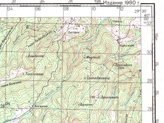 Reduced fragment of topographic map ru--gs--100k--j35-011--N040-00_E029-00--N039-40_E029-30; towns and cities Keles, Kocakavacik